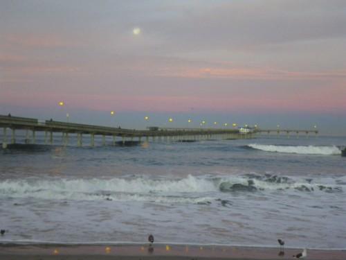 Blue Moonset over OB Pier, sunrise January 1, 2010