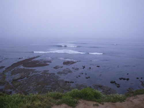 Foggy overcast morning and the low tide reef