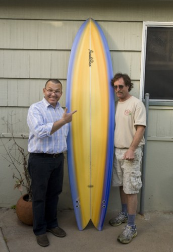 Max and Steve with the new 8'4 twin fin