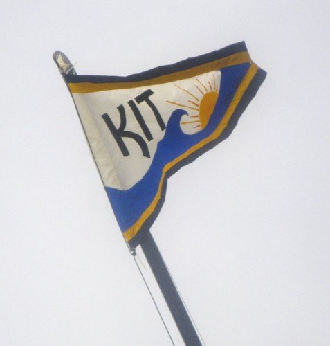 In honor of Kit Horn, his flag flies on the Hobie Cat