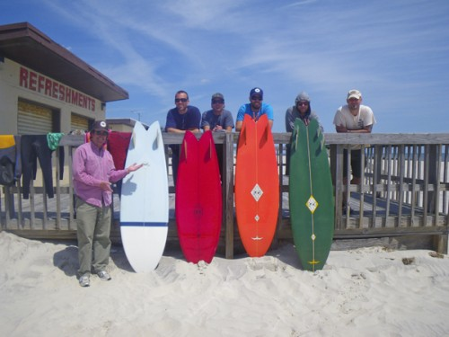 Mike, Steve and friends with MM's Lis fish quiver and a cool Faktion fish made in NY